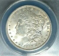 1887 MORGAN SILVER DOLLAR  ANACS MINT STATE 62 VAM 1C BEAUTIFUL COIN
