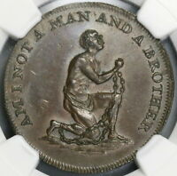 1790S NGC MS 63 SLAVE CONDER 1/2 PENNY MIDDLESEX SLAVERY TOKEN DH 1037 19080303C