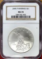 2005 P MARINE CORPS COMMEMORATIVE SILVER DOLLAR NGC MS 70 A1