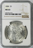 1884 $1 MORGAN DOLLAR NGC MINT STATE 63
