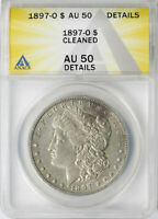 1897-O $1 MORGAN DOLLAR ANACS AU50 DETAILS CLEANED