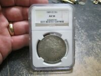 KEY DATE 1889 CC MORGAN SILVER DOLLAR NGC AU50 ABOUT UNCIRCULATED CONDITION