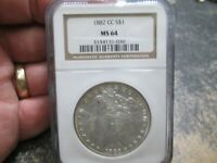 1882 CC MORGAN SILVER DOLLAR NGC MINT STATE 64 UNCIRCULATED CONDITION