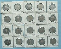 LOT OF 20 ITALY 5  LIRA COINS