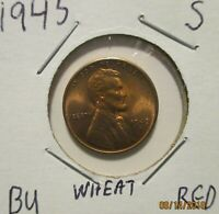 BU GEM RED MS BRILLIANT UNCIRCULATED WHEAT CENT FROM BU ROLL 1945 S