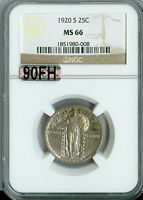 1920-S STANDING LIBERTY QUARTER NGC MAC MINT STATE 66 90FH 2ND FINEST REGESTRY
