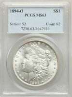 1894-O US MORGAN SILVER DOLLAR $1 - PCGS MINT STATE 63