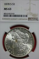 1878 S MINT STATE 63 MORGAN SILVER DOLLAR NGC CERTIFIED GRADED AUTHENTIC SLAB OCE 125