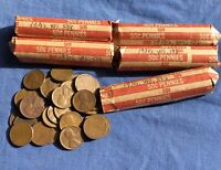 5 COPPER WHEAT CENT ROLLS. 1930S, 1940S, 1950S. PDS, CIRCULATED. 250 COINS