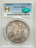 1894-S US MORGAN SILVER DOLLAR $1 - PCGS MINT STATE 65 - CAC