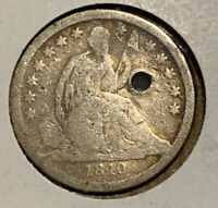1840 SEATED LIBERTY DIME LOW MINTAGE WITH DRAPERY KEY DATE HOLED