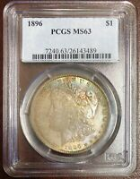 MORGAN SILVER DOLLAR 1896 PCGS MINT STATE 63 TONED VAM 3 DOUBLED 89 Z606