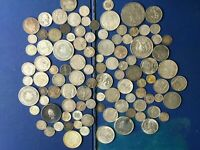 MASSIVE BULK LOT OF 100  OLDER WORLD SILVER COINS LOTA009 NE