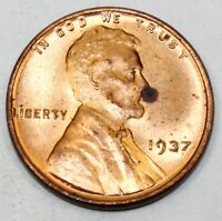 1937 UNITED STATES LINCOLN WHEAT CENT / PENNY - BRILLIANT UNCIRCULATED CONDITION