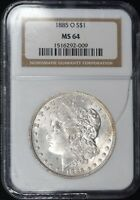 1885-O MORGAN DOLLAR MINT STATE 64 NGC CRACKED HOLDER