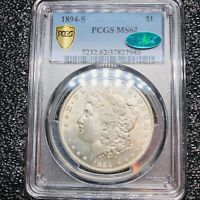 1894-S MORGAN SILVER DOLLAR PCGS MINT STATE 62 CAC PREVIOUS NGC MINT STATE 63