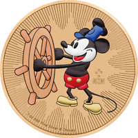 NIEU 2017 2$ STEAMBOAT WILLIE ROSGOLD / COLORIERT 1 OZ SILBE