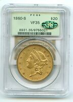 1860 S $20 LIBERTY DOUBLE EAGLE VF 35 PCGS OLD GREEN HOLDER