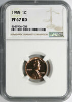 1955 PROOF 1C LINCOLN CENT NGC PF67RD