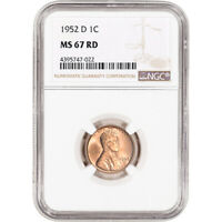 1952-D US LINCOLN WHEAT CENT 1C - NGC MINT STATE 67 RD