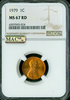 1979 LINCOLN CENT NGC MAC MINT STATE 67 RED PQ 2ND FINEST REGISTRY SPOTLESS