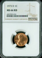 1973-D LINCOLN CENT NGC MINT STATE 66 CHERRY RED  TOUGH DATE