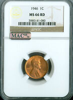 1946 LINCOLN CENT NGC MAC MINT STATE 66 CHERRY RED PQ 001