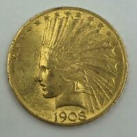 1  1908 INDIAN GOLD EAGLE $10 US COIN
