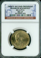 2014-P FRANKLIN ROOSEVELT PRES. DOLLAR NGC MINT STATE 67  SPOTLESS
