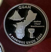 2009 S GUAM PROOF 90  SILVER QUARTER TAKEN FROM SILVER PROOF