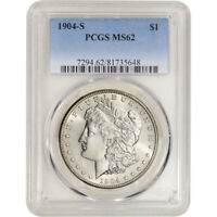 1904-S US MORGAN SILVER DOLLAR $1 - PCGS MINT STATE 62