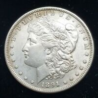 1891-S  MORGAN SILVER DOLLAR AU