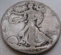 1928-S WALKING LIBERTY SILVER HALF DOLLAR IN A SAFLIP - VG- GOOD - LARGE S