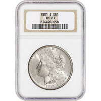 1881-S US MORGAN SILVER DOLLAR $1 - NGC MINT STATE 63