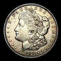 1921 D ABOUT UNCIRCULATED AU SILVER MORGAN DOLLAR  US OLD COIN Z85