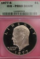 1977 S PR 69 DEEP CAMEO EISENHOWER DOLLAR ICG GRADED CERTIFIED AUTHENTIC OCE 606