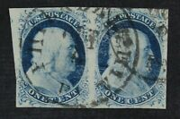 CKSTAMPS: US STAMPS COLLECTION SCOTT7 1C FRANKLIN USED PAIR