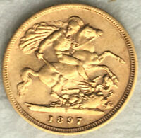 1897 VICTORIA HALF SOVEREIGN S MINT GEORGE AND DRAGON @14585