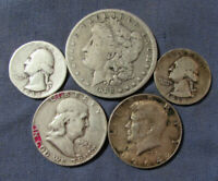 LOT 5 US SILVER COINS 1888 O MORGAN SILVER DOLLAR ETC AS IS
