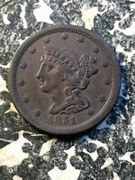 1851 U.S. BRAIDED HAIR 1/2 HALF CENT LOTA104 OLD CLEANING