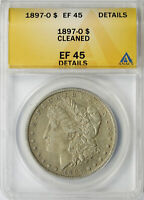 1897-O $1 MORGAN DOLLAR ANACS EF45 DETAILS CLEANED
