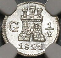 1821 NGC MS 63 GUATEMALA 1/4 REAL SPAIN COLONY SILVER COIN  19122204D