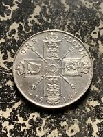 1914 GREAT BRITAIN 1 FLORIN LOTQ980 SILVER  NICE DETAIL  OLD CLEANING