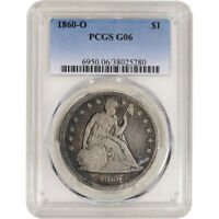 1860-O US SEATED LIBERTY SILVER DOLLAR $1 - PCGS G06