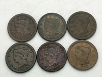 6 1850S LARGE CENTS 1850 1851 1852 1853 1854 1856 ESTATE FIN