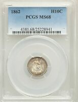1862 US SILVER H10C SEATED LIBERTY HALF DIME - PCGS MINT STATE 68