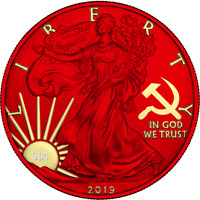 USA 2019 1$ LIBERTY SPACE RED EDITION   PAINT IT RED 1 OZ SI
