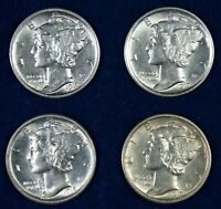 1917 1917 D 1918 S & 1919 S 10C MERCURY DIMES   4 DIFFERENT