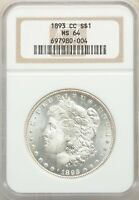 1893-CC US MORGAN SILVER DOLLAR $1 - NGC MINT STATE 64