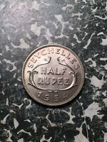 1954 SEYCHELLES 1/2 RUPEE  11 AVAILABLE  HIGH GRADE   1 COIN ONLY